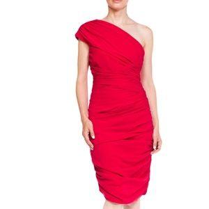BADGLEY MISCHKA Raspberry Silk & Lycra Dress SZ 10